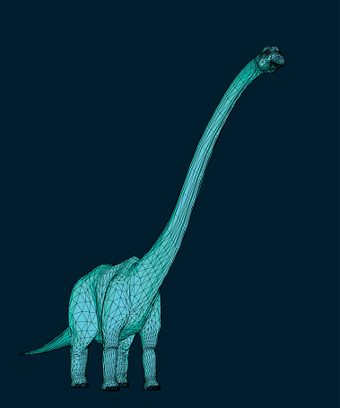 illustration of a blue Brontosaurus aka Diplodocus