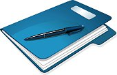 istock Illustration of a blue folder with papers and pen on top 165794045