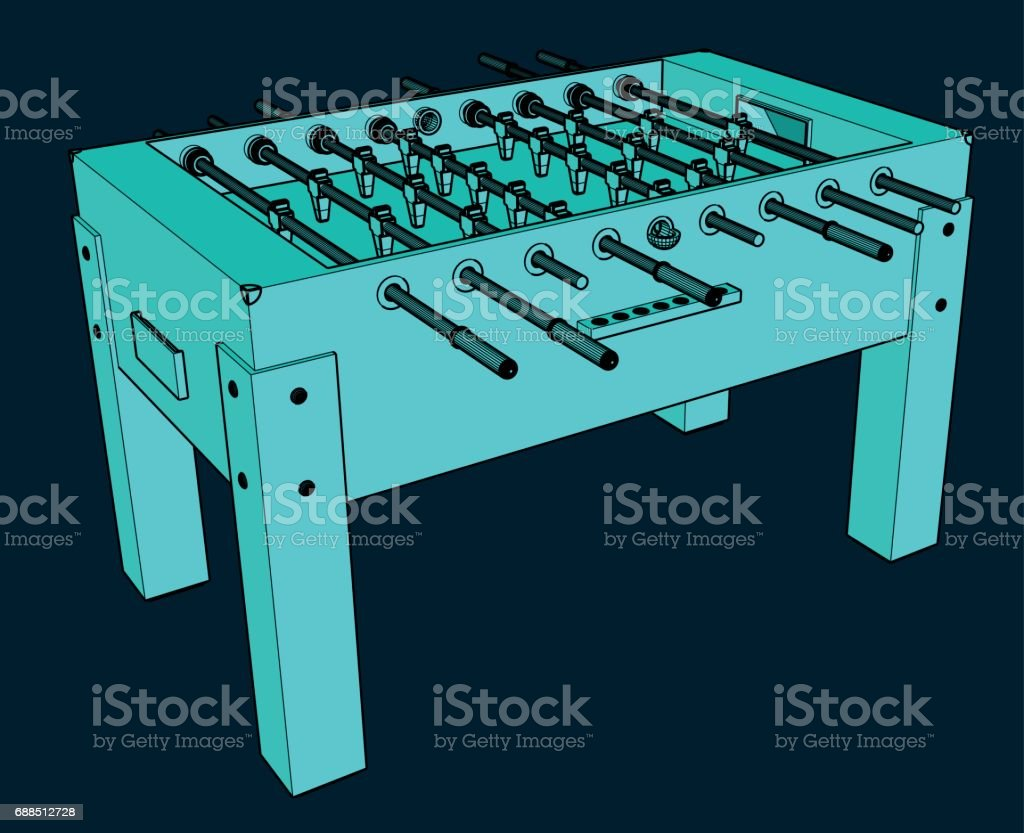 Illustration d'une table de Foosball bleue - Illustration vectorielle