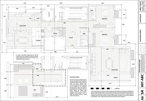 stockillustraties, clipart, cartoons en iconen met illustration of a blueprint - interior design