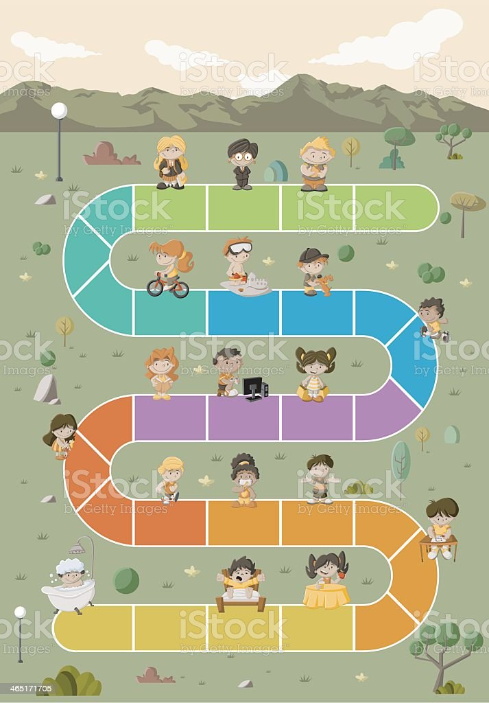 Illustration of a board game board featuring children向量藝術插圖