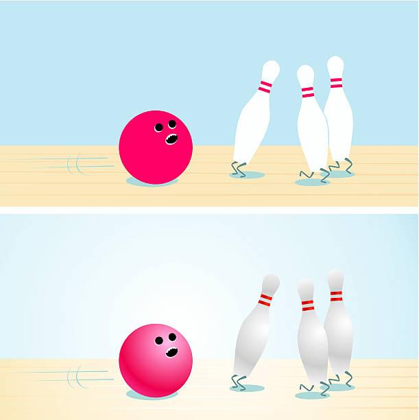 Illustration of a bowling ball and pins vector art illustration