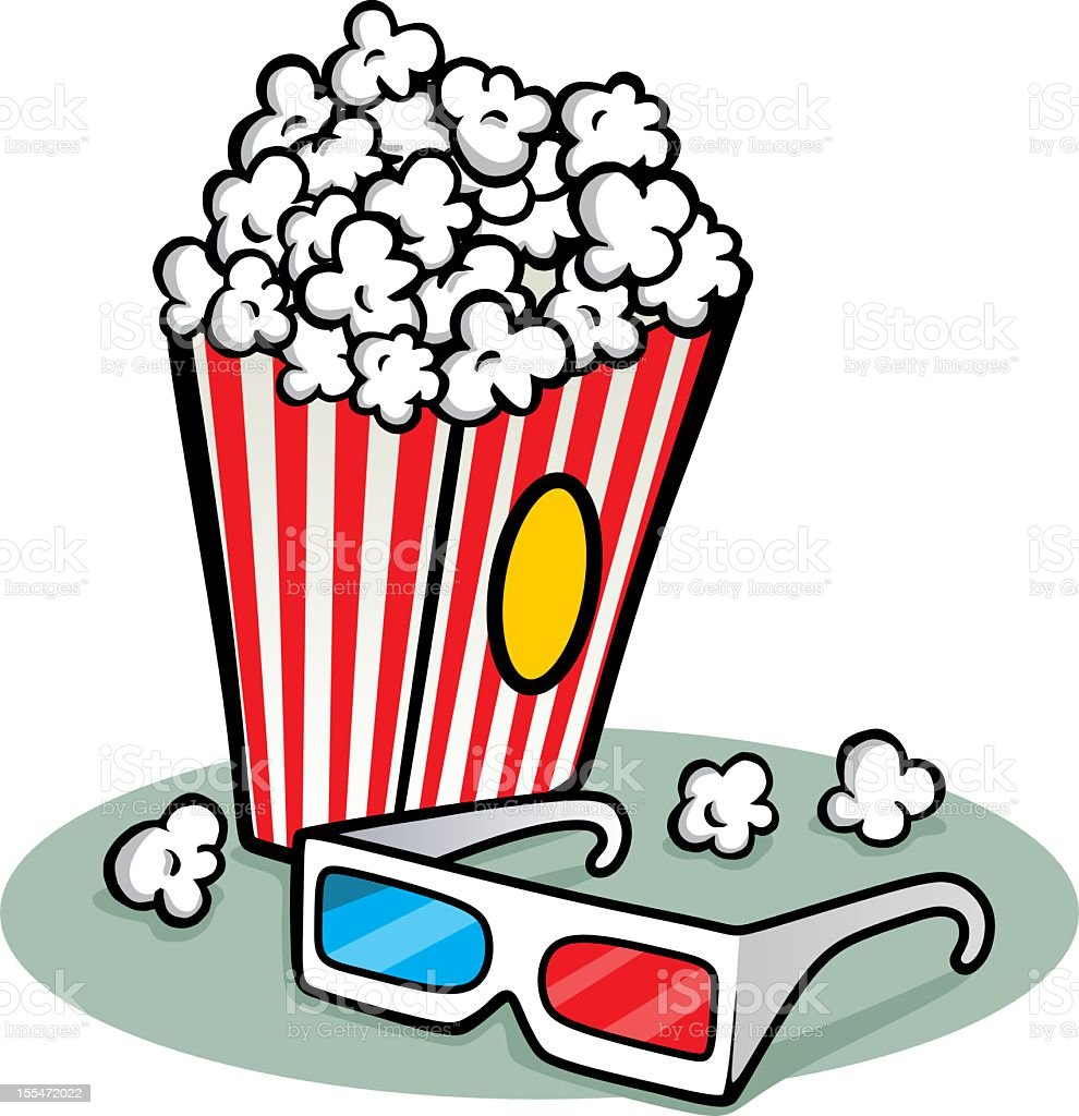 Illustration of a box of popcorn with a pair of 3D glasses royalty-free stock vector art