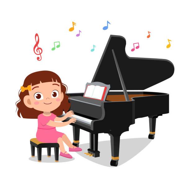 ilustraciones, imágenes clip art, dibujos animados e iconos de stock de ilustración de un niño y una niña tocando el piano - clase de arte