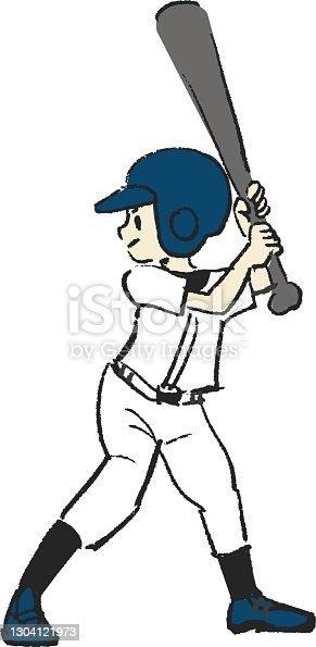 istock Illustration of a boy holding a bat in baseball 1304121973