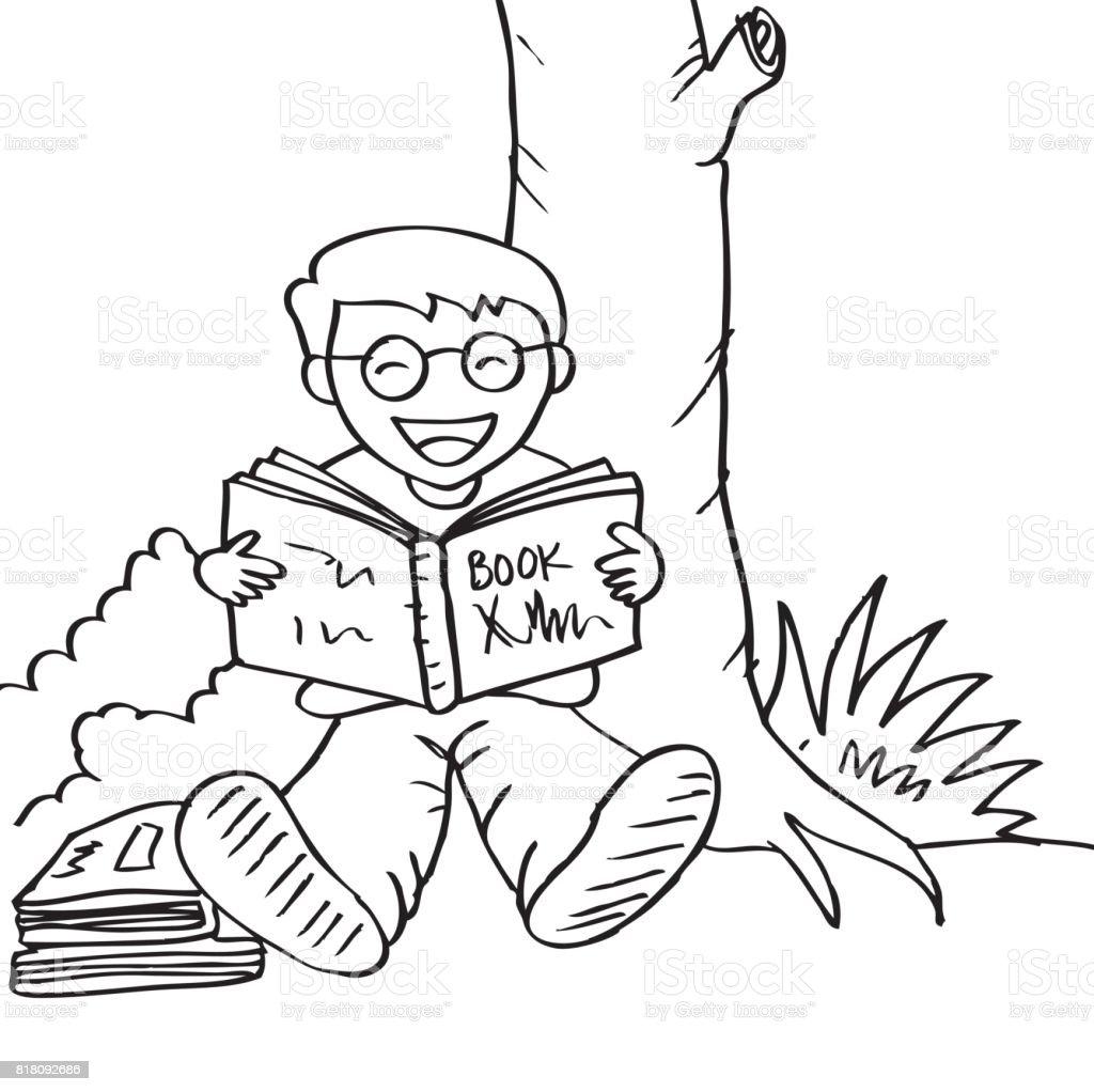 Ilustración de Ilustración De Un Niño Leyendo Libro Bajo El árbol y ...