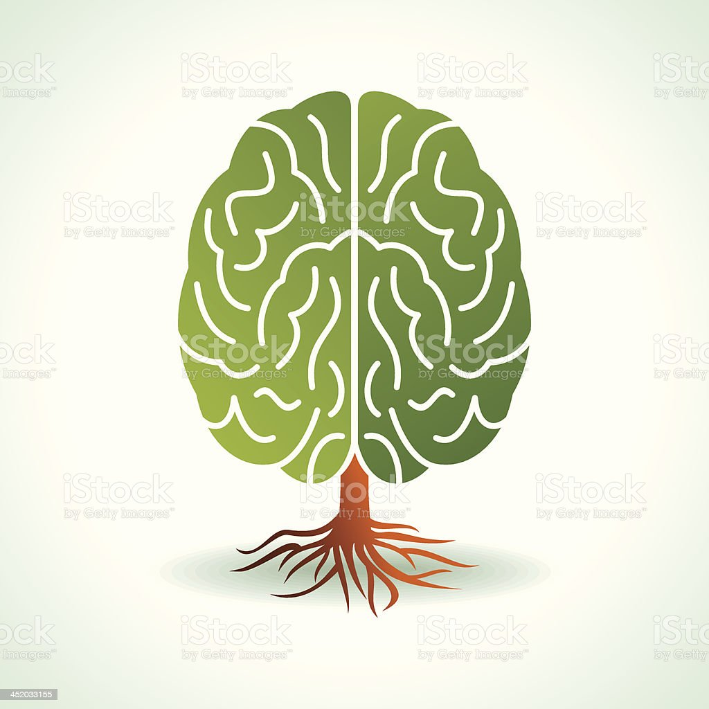 Illustration of a brain drawn as a tree in green and brown royalty-free stock vector art