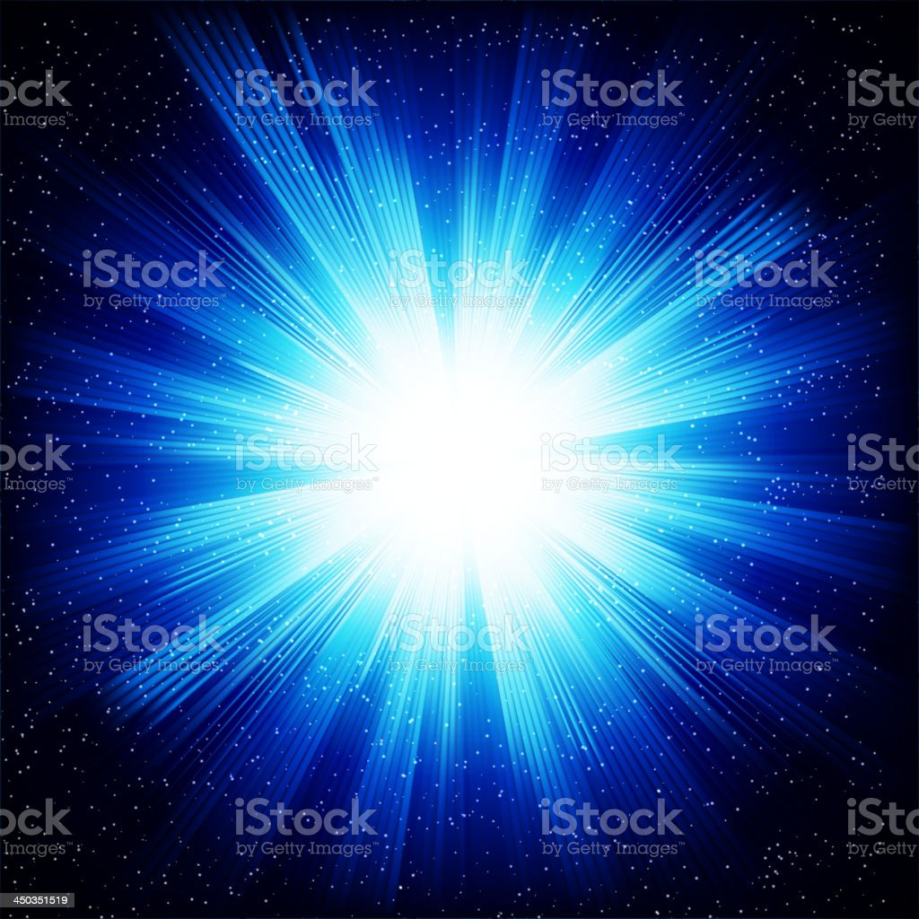 Illustration of a bright star fading into blue on a black vector art illustration