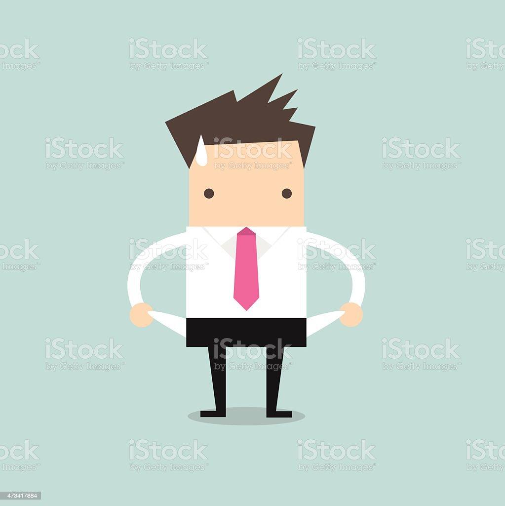 Illustration of a broke businessman vector art illustration