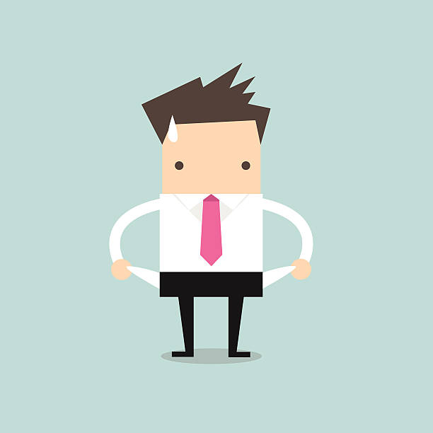 illustration of a broke businessman - bankruptcy stock illustrations, clip art, cartoons, & icons