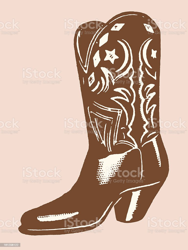 A illustration of a brown cowboy boot vector art illustration