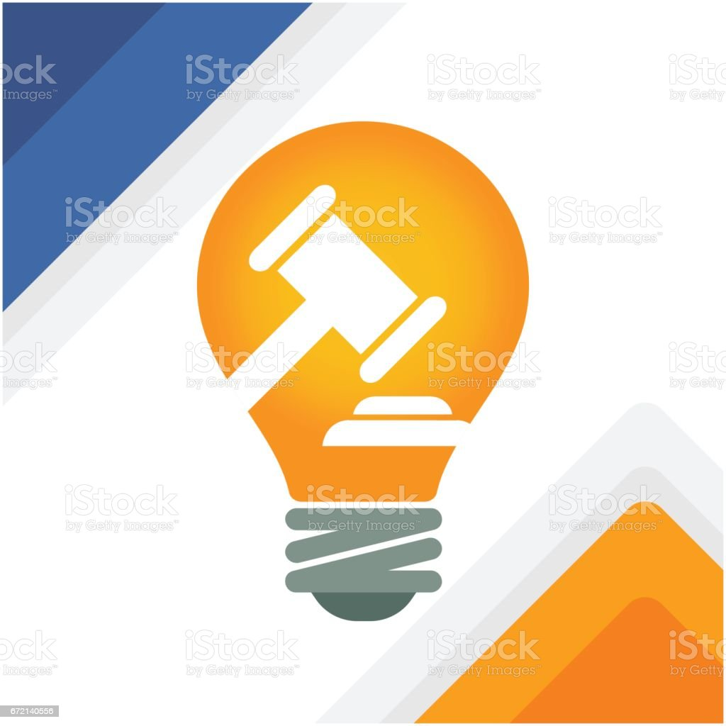 Illustration of a bulb with gavel vector art illustration