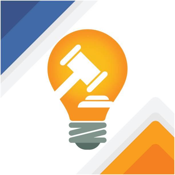 Illustration of a bulb with gavel vector art illustration