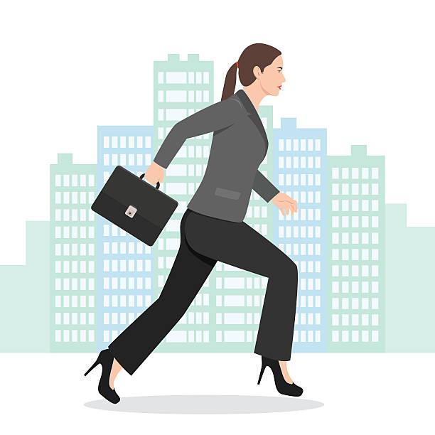 ilustrações de stock, clip art, desenhos animados e ícones de illustration of a business woman running with her briefcase - young woman running city