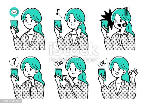 istock Illustration of a business woman with a smartphone 1331731691