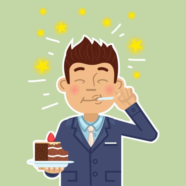 illustration of a businessman eating a cake. joyful man eating super delicious cake. pleasure, enjoy, joy, sweets - happy holidays stock illustrations