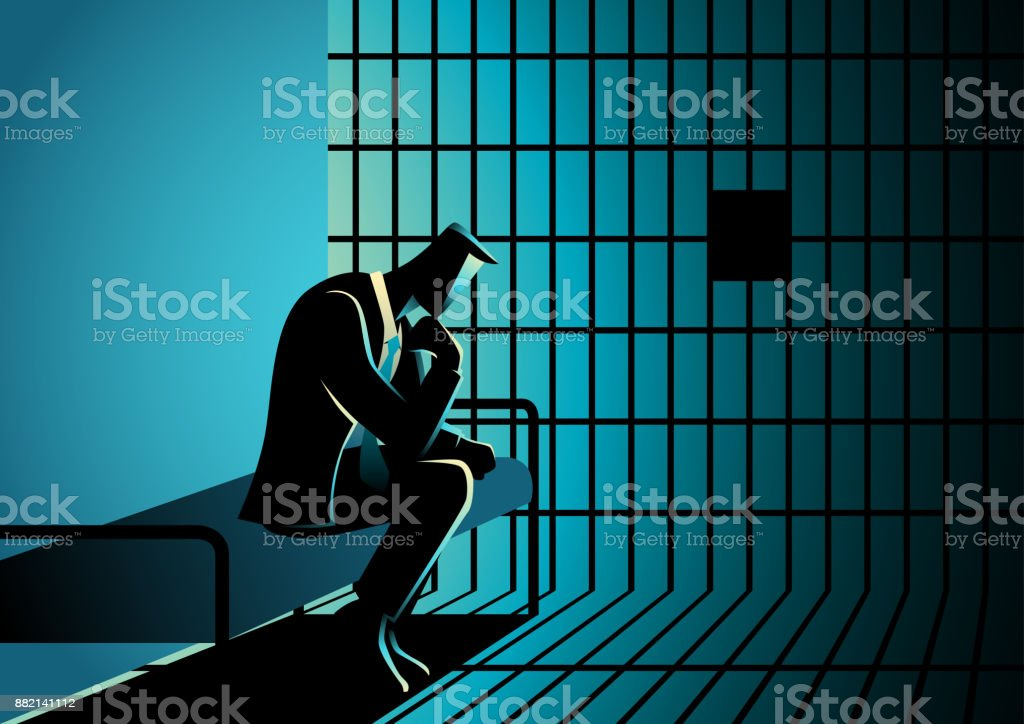 Illustration of a businessman in jail vector art illustration