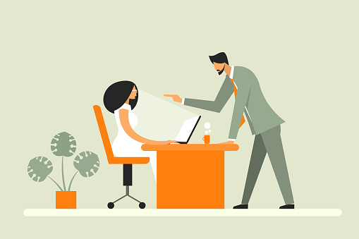 Illustration of a businessman pointing his finger to his employee. Concept for anger management