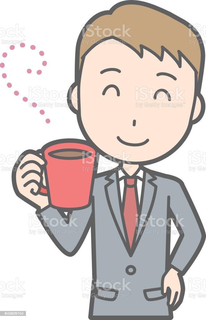 커피를 마시는 커피를 입고 사업가의 그림 Employee에 대한 스톡 벡터 아트 및 기타 이미지 - iStock
