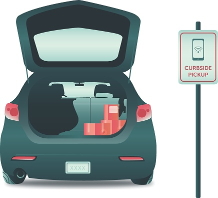 Illustration of a car at curbside pick-up location