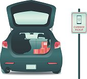An illustration of an open hatch on a car filled with boxes. The car is parked at a curbside delivery locationn.