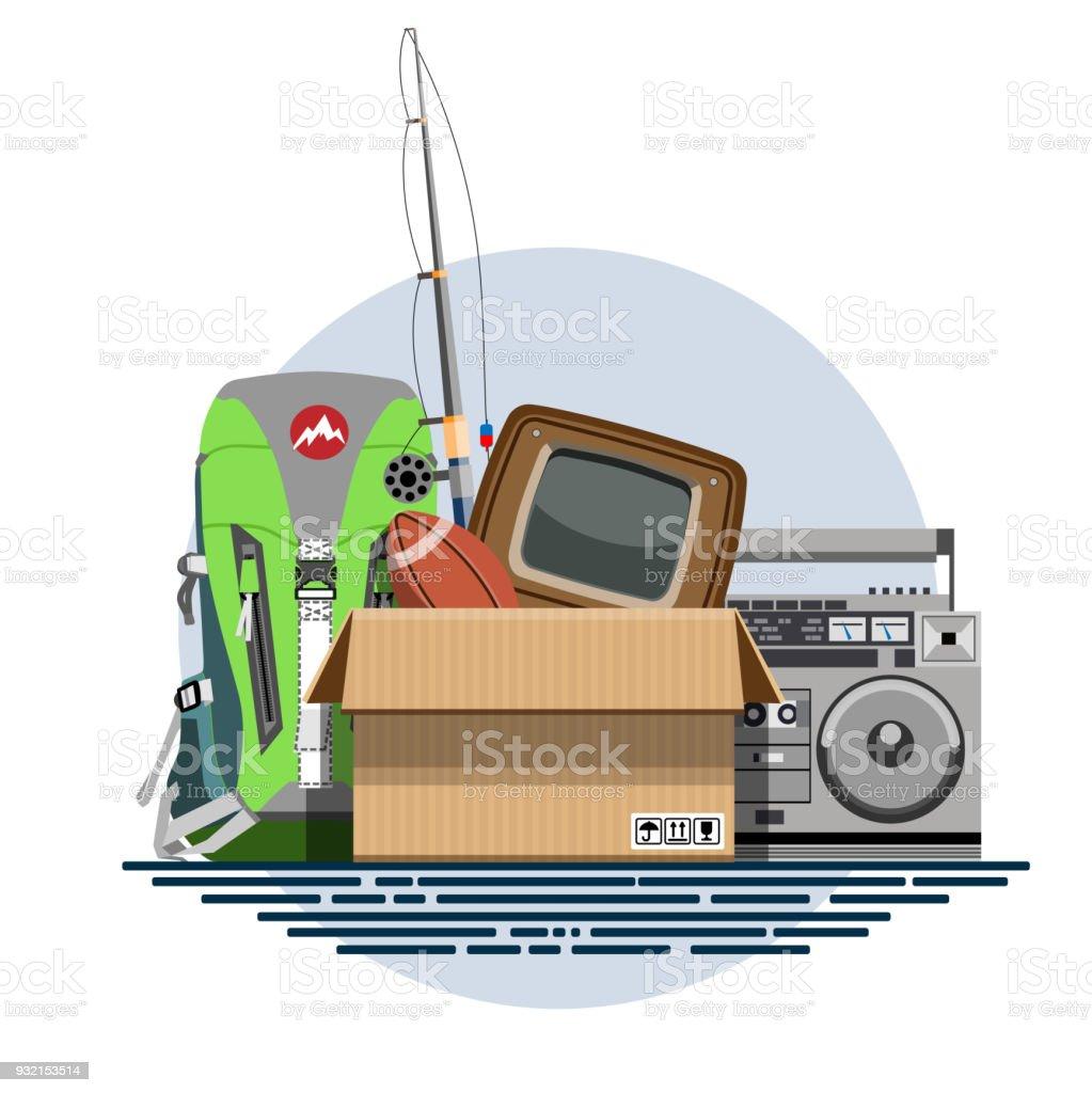 Illustration d'une boîte en carton avec vieilles choses - Illustration vectorielle