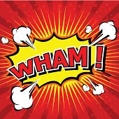 Illustration of a cartoon comic speech bubble saying wham!