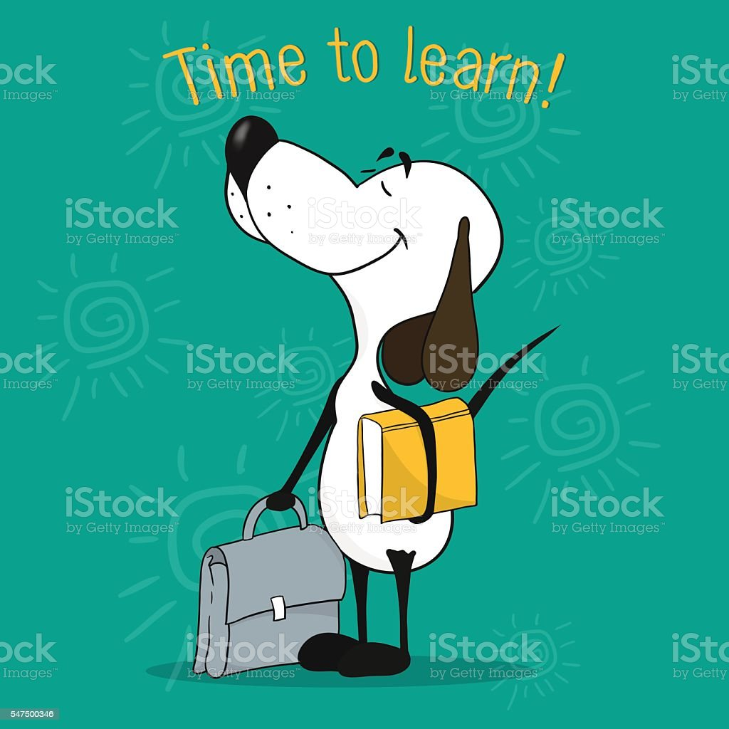 Illustration of a cartoon dog. Eager to learn vector art illustration