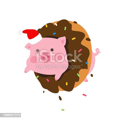 Illustration of a cartoon pig in a donut. Vector. Pork in Santa Claus cap looks out of a donut. New Year's mascot. Character to pack. Symbol of 2019.