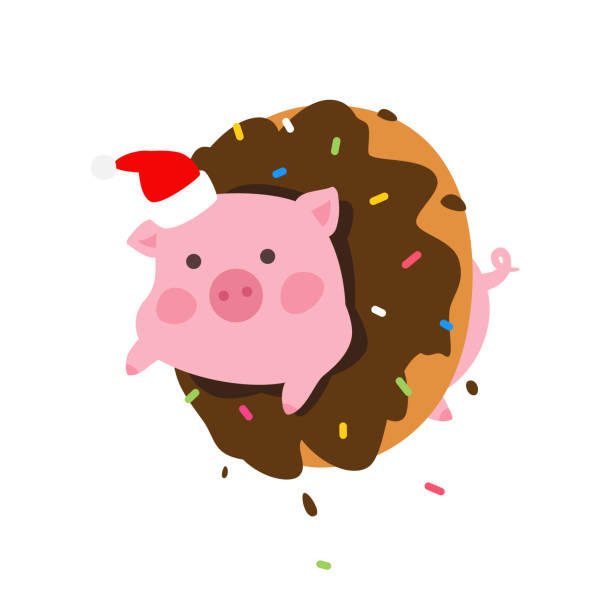ilustrações de stock, clip art, desenhos animados e ícones de illustration of a cartoon pig in a donut. vector. pork in santa claus cap looks out of a donut. new year's mascot. character to pack. symbol of 2019. - christmas cake