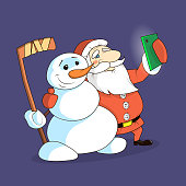 Color illustration of a cartoon plane Santa Claus and snowman making selfie phone
