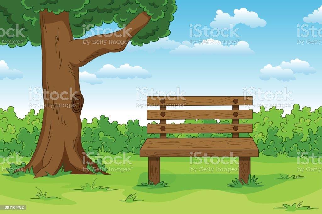 Illustration d'un paysage d'été de dessin animé avec banc illustration dun paysage dété de dessin animé avec banc – cliparts vectoriels et plus d'images de allemagne libre de droits