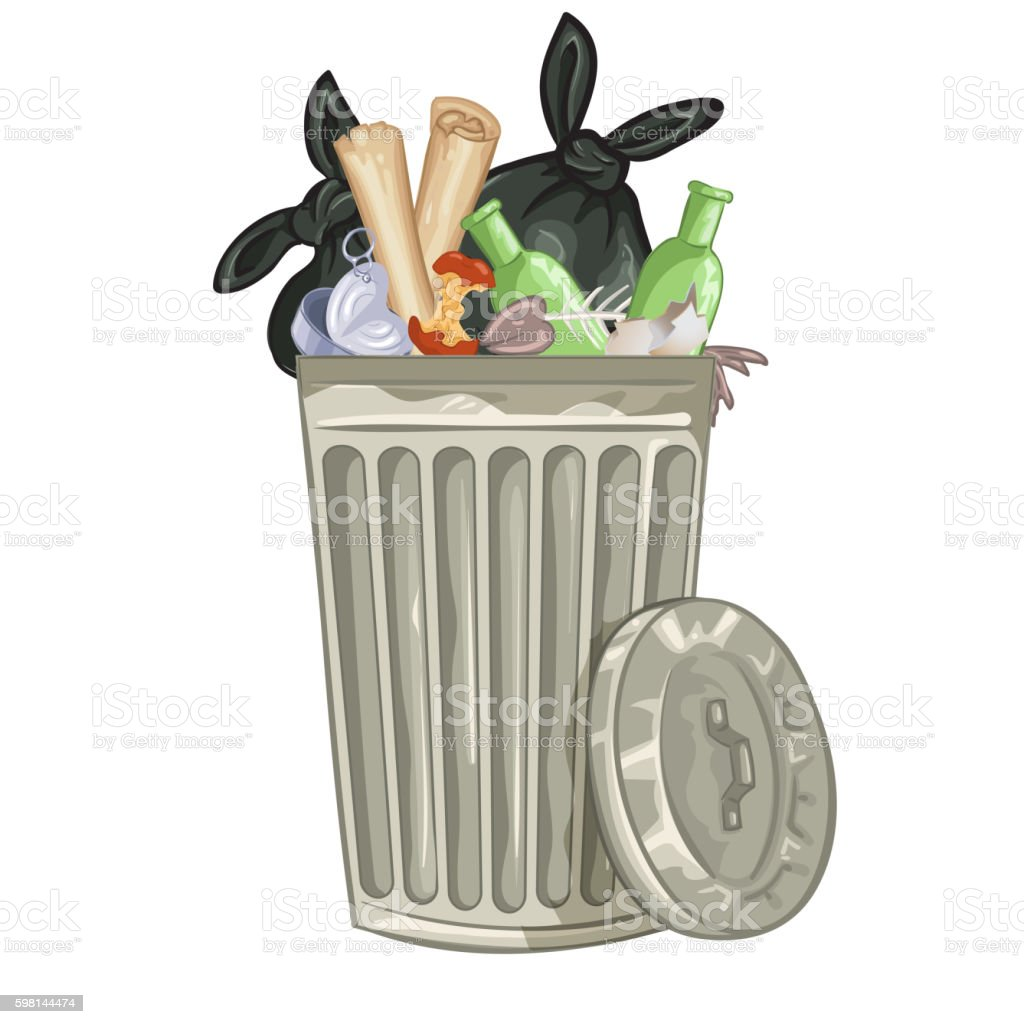 Illustration of a cartoon trash can. vector art illustration