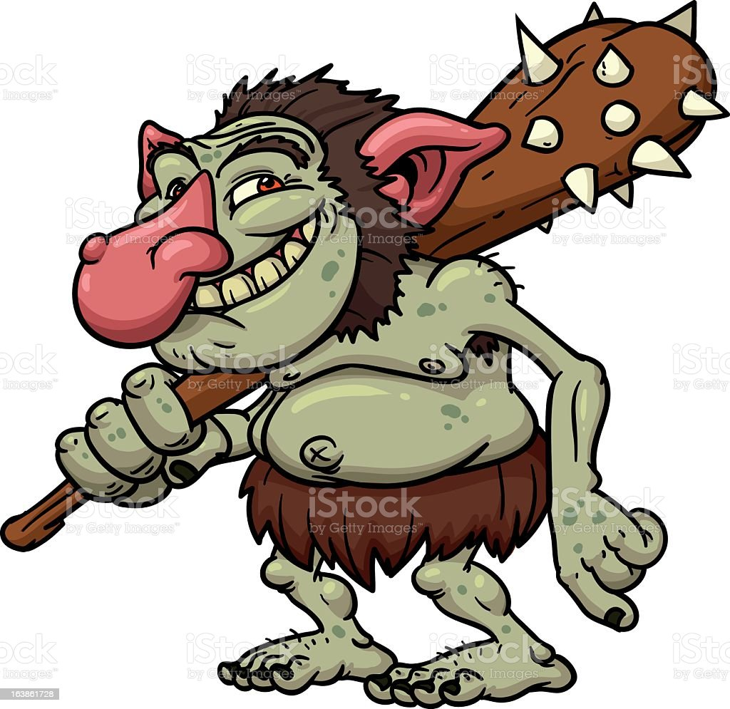 Illustration of a cartoon troll holding a mallet royalty-free stock vector art