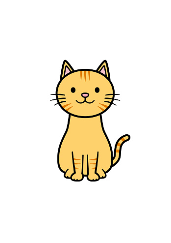 Illustration of a cat sitting facing the front (color 2)