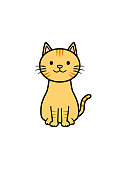 istock Illustration of a cat sitting facing the front (color 2) 1301594261