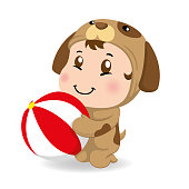 Illustration of a caucasian baby with dog costume holding a ball. Ideal for educational and informational materials