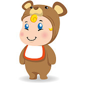 Illustration of a caucasian baby with teddy costume. Ideal for educational and informational materials