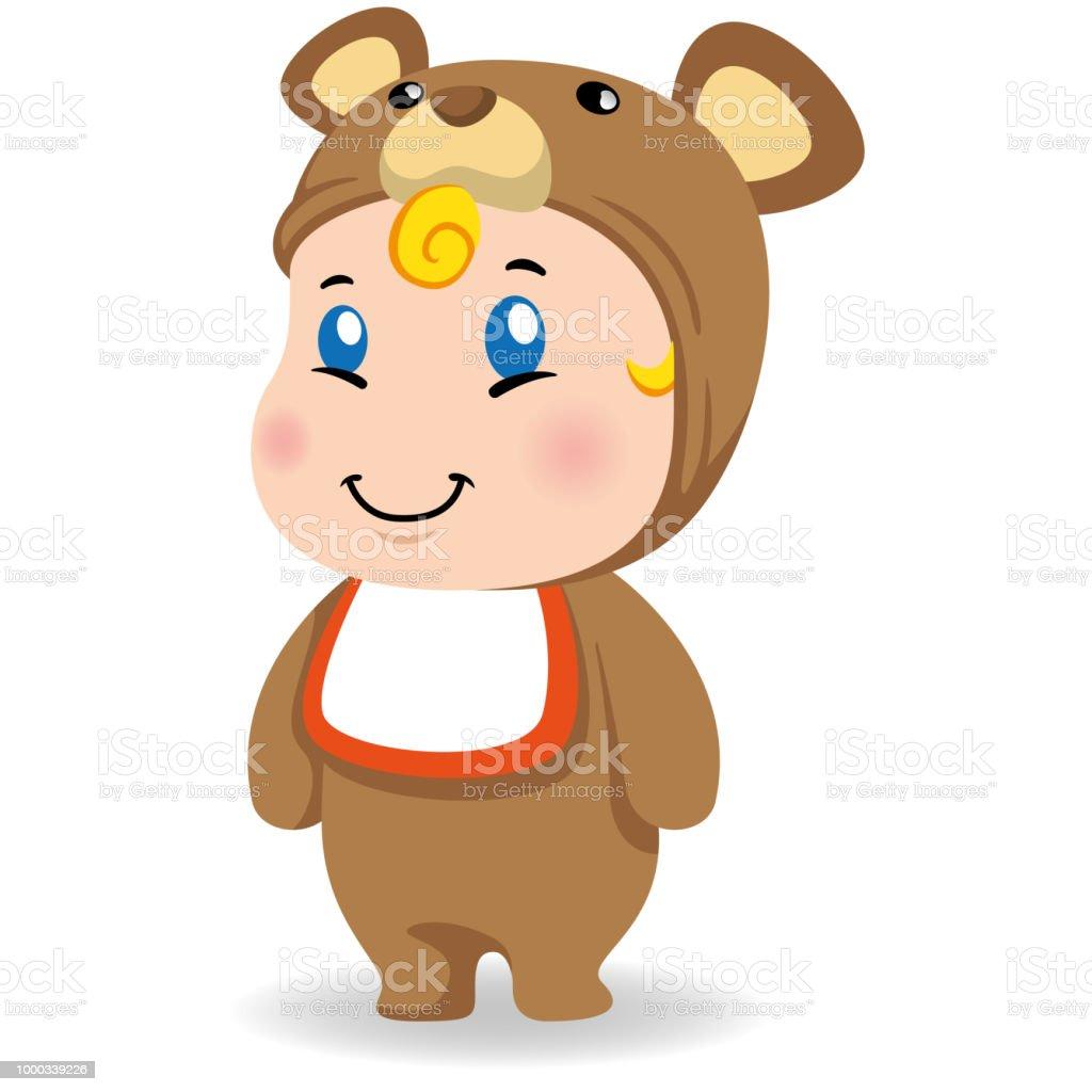 Illustration d'un bébé caucasien avec le costume de nounours. Idéal pour les matériaux éducatifs et informatifs - Illustration vectorielle