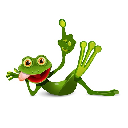 Illustration of a Cheerful Green Frog with Index Finger