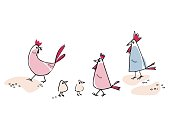 istock Illustration of a chicken, chicks and roosters in cartoon style 1201755774