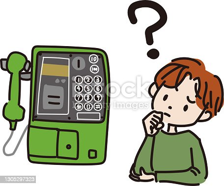 istock Illustration of a child who does not know how to use a pay phone 1305297323