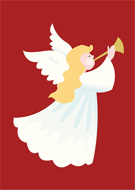 illustration of a christmas angel blowing a horn vector art illustration - A Christmas Angel
