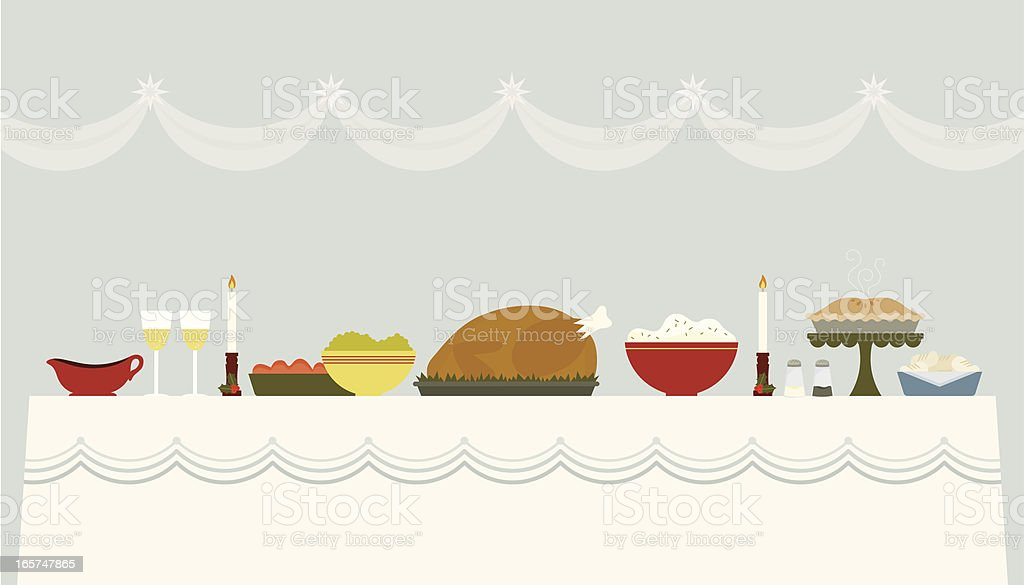 Illustration of a Christmas banquet table vector art illustration