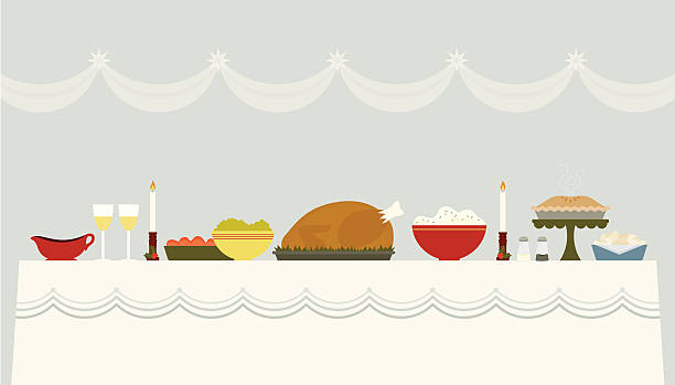 Illustration of a Christmas banquet table A beautiful table spread with delicious food for a holiday meal christmas dinner stock illustrations