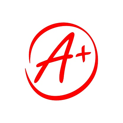 illustration of a circled red A+ grade