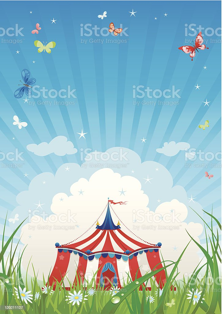 Illustration of a circus tent under a blue striped sky vector art illustration