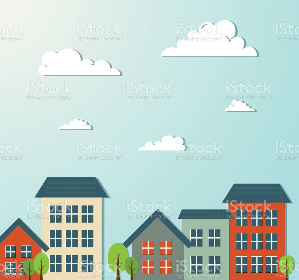 Illustration of a city and building with blue sky vector art illustration
