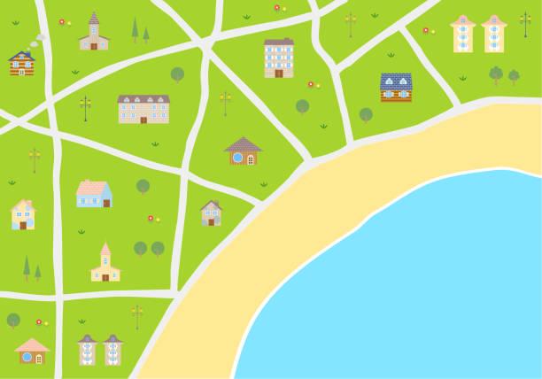 街の地図のイラスト - 草原点のイラスト素材/クリップアート素材/マンガ素材/アイコン素材