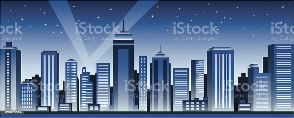 A illustration of a city night skyline royalty-free a illustration of a city night skyline stock vector art & more images of architecture